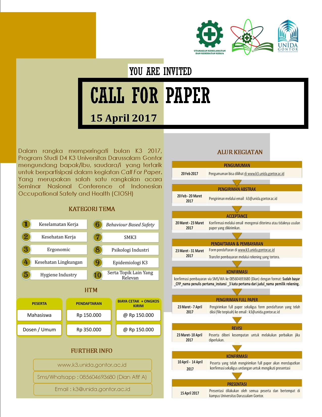 CALL FOR PAPER - CIOSH